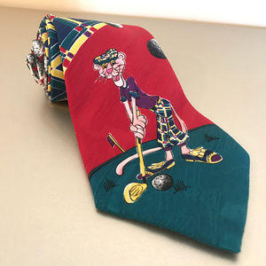 1993 Pink Panther Neck Tie Silk PGA Golf Cartoon